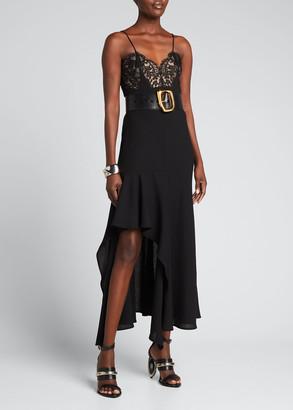 Alexander McQueen Lace Asymmetric Ruffle Midi Dress