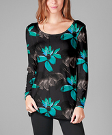 Lily Black & Turquoise Floral Rounded-Hem Tunic - Plus Too