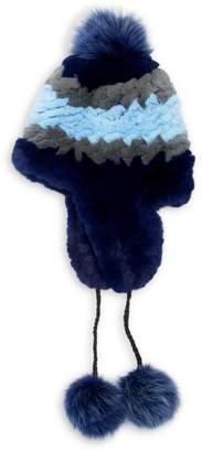 Pologeorgis Rex Rabbit & Fox Fur Pom-Pom Trapper Hat