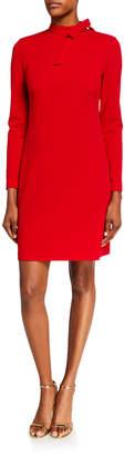 Calvin Klein Long-Sleeve Sheath Dress With Bow Tie-Neck