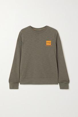 Calvin Klein Underwear Striped Printed Cotton-blend Jersey Sweatshirt - Army green