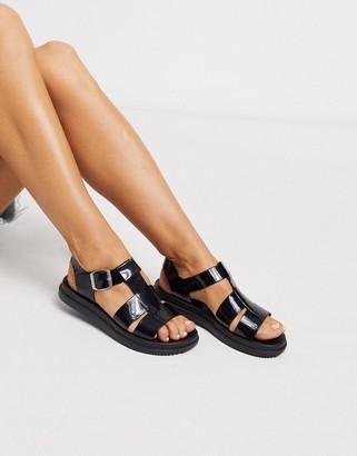 London Rebel gladiator jelly sandal in black