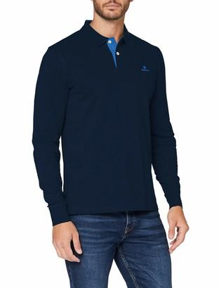 Gant Men's Contrast Collar Pique Ls Rugger Polo Shirt