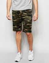 Asos Slim Shorts In Jersey With Camo Print