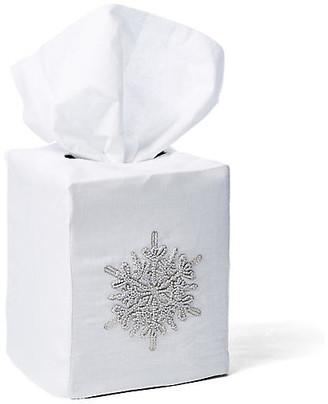 Hamburg House Snowflake Linen Tissue Box Cover - White