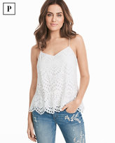 White House Black Market Petite Eyelet White Cotton Cami