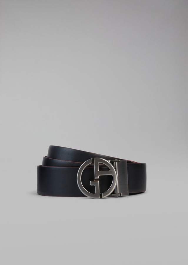 Giorgio Armani Reversible Leather Belt With Two Buckles