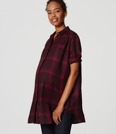 LOFT Maternity Plaid Tunic Softened Shirt