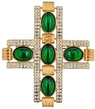 Gucci cabochon stones cross brooch