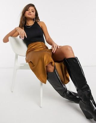 Stradivarius ruched midi skirt in brown
