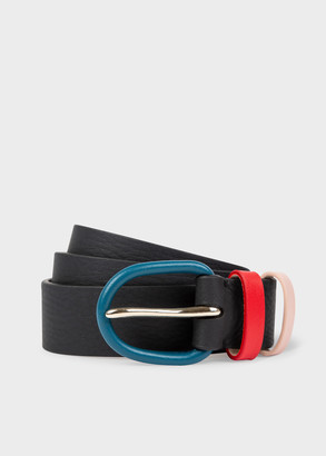 Paul Smith Women's Black Leather Belt With Contrast Buckle