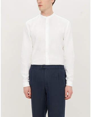 HUGO Stand collar relaxed-fit linen shirt