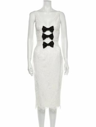 Rasario Lace Pattern Midi Length Dress w/ Tags White