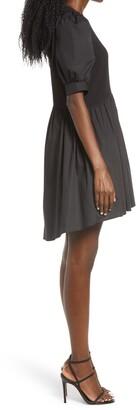 ENGLISH FACTORY Mixed Media Puff Sleeve Dress