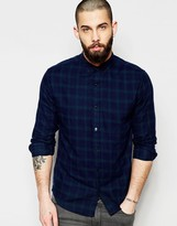 ONLY & SONS Tonal Check Shirt with Button Down Collar In Regular Fit