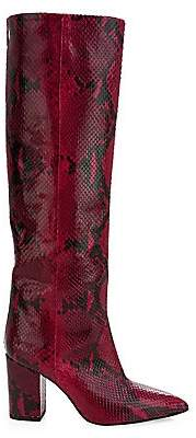 Paris Texas Women's Knee-High Python-Embossed Leather Boots