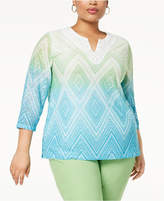 Alfred Dunner Turks & Caicos Plus Size Embroidered Ombré Top