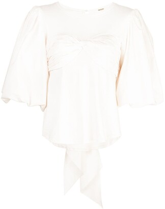 Johanna Ortiz Idyllio ruched puff-sleeve blouse