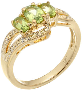 FINE JEWELRY Genuine Peridot and White Topaz Yellow-Tone Sterling Silver 3-Stone Ring