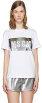MSGM White Metallic Logo T-Shirt