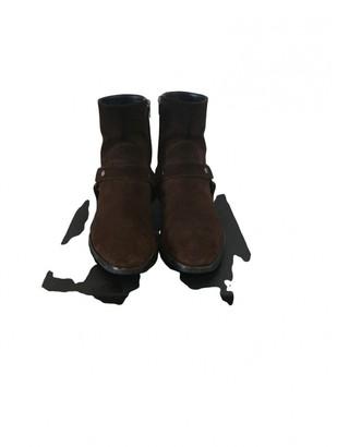 Saint Laurent Wyatt Brown Suede Boots