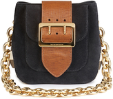 Burberry Square Belt Bag in Black English Suede and House Check