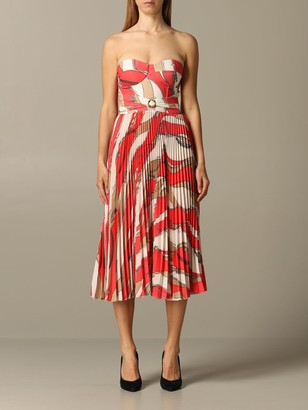 Elisabetta Franchi Dress With Chain Print And Pleated Skirt