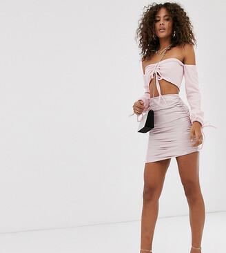 Club L London Tall vinyl ruched mini skirt in pink