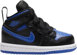 Jordan AJ 1 Mid Basketball Shoes - Black / Hyper Royal White