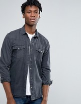 Pull&Bear Western Denim Shirt In Black In Regular Fit