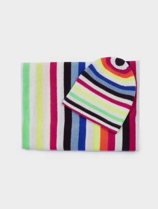 White + Warren Cashmere Winter Stripes Beanie + Scarf Bundle
