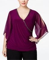 MSK Plus Size Illusion-Sleeve Embellished Top