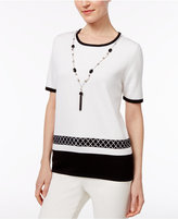 Alfred Dunner Petite Medallion-Border Necklace Sweater