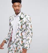 Asos TALL Super Skinny Blazer With Pink Bird Print