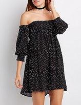 Charlotte Russe Polka Dot Smocked Off-The-Shoulder Dress