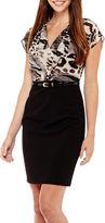 JCPenney Alyx Flutter-Sleeve Animal Print Pleated Combo Dress