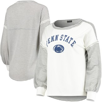 Women's White Penn State Nittany Lions Line It Up Striped Bubble Long Sleeve T-Shirt