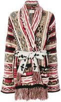 Laneus tie-waist patterned cardigan