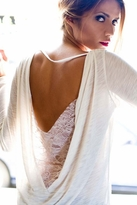 Blue Life Long Sleeve Lace Back Drape Top in Ivory