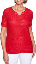 Alfred Dunner Americas Cup Short Sleeve Lace T-Shirt-Womens