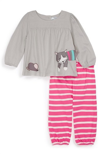 Mini Boden Appliqué Tunic & Pants (Baby Girls)