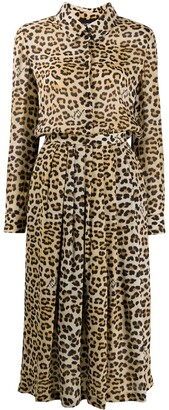 Boutique Moschino Leopard Print Shirt Dress