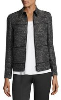 Lafayette 148 New York Ryker Zip-Front Deco Woven Jacket, Black Multi