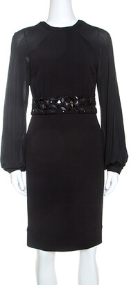 Blumarine Black Stretch Wool Crepe Embellished Belted Sheath Dress S