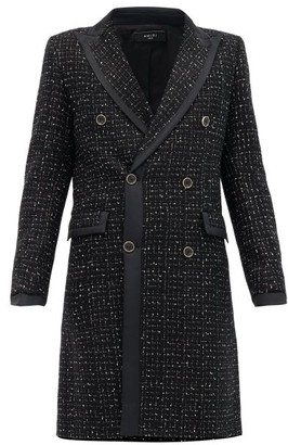 Amiri Satin-trimmed Boucle-tweed Double-breasted Coat - Black