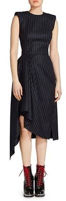 Alanui Asymmetric Sleeveless Pinstripe Wool Dress