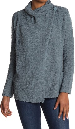 Bobeau Boucle Popcorn Draped Button Cardigan