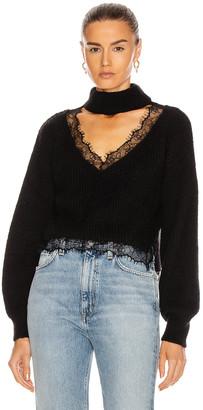 BROGNANO Lace Trim Sweater in Black | FWRD
