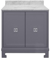 The Well Appointed House Worlds Away Candance Grey Lacquered Vanity with Nickel Hardware