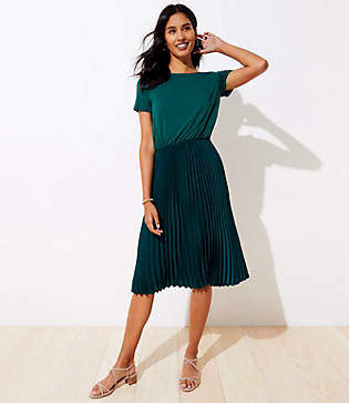 LOFT Mixed Media Pleated Dress